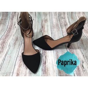 Paprika Brand Suede Ankle Strap Pumps